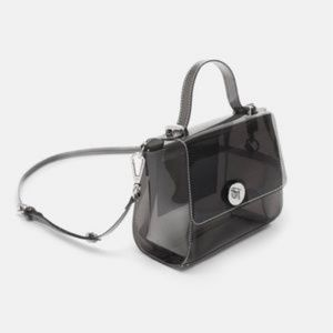 Zara Clear Gray Mini City Bag Crossbody Purse